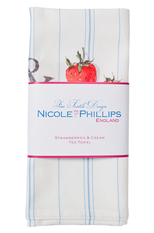Nicole Phillips England Strawberries And Cream Tea Towel packaged