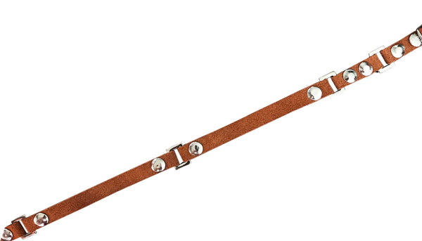 links leather choker - brown suede