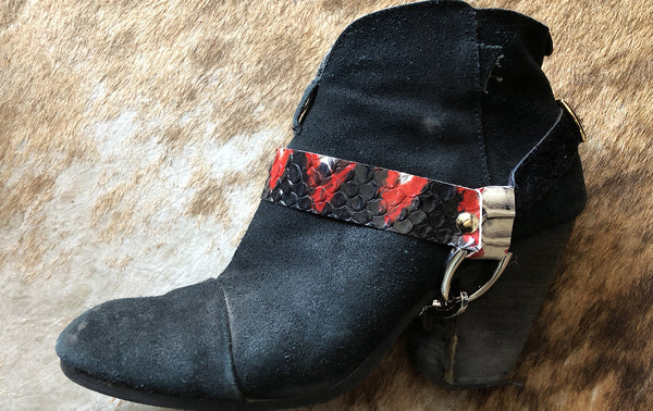 white and red snake boots straps