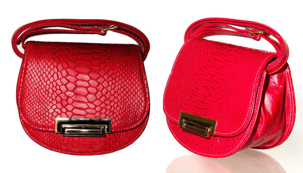Lulu Red snake embossed