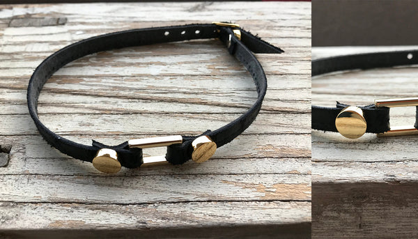4 links leather choker