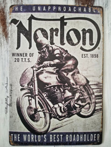 Vintage Inspired Metal Sign - Norton Motorcycle