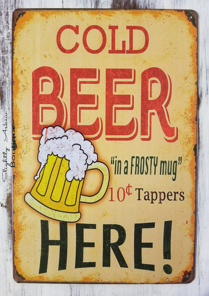 Vintage Inspired Metal Sign - Cold Beer Here
