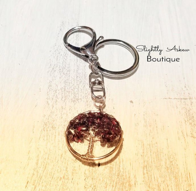 Tree of Life Keyring - Garnet