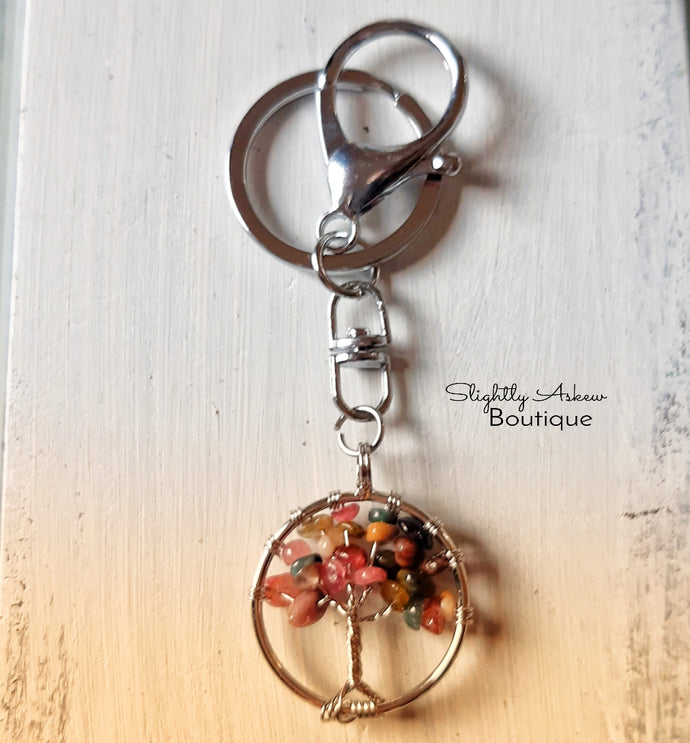 Tree of Life Keyring - Mixed Tourmaline