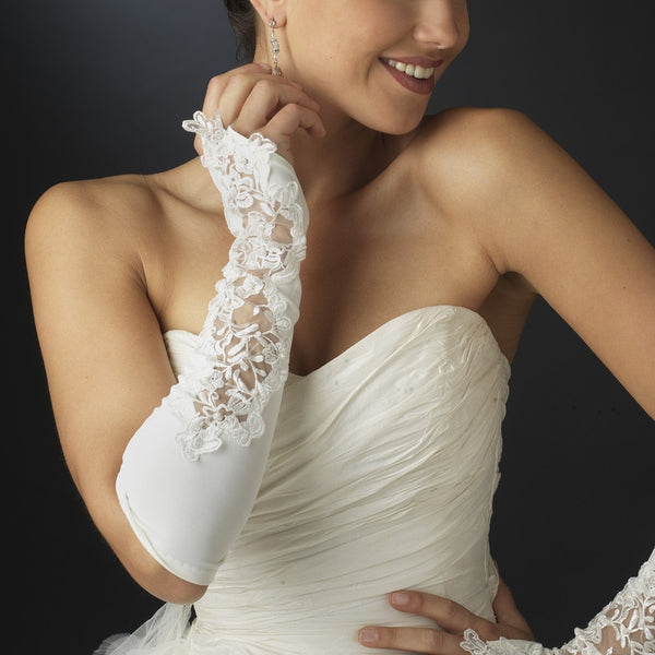 Embellished Fingerless Bridal Gloves - MyGowns.com