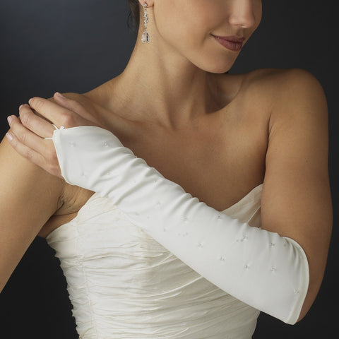 Elegant Beaded Fingerless Bridal Gloves - MyGowns.com