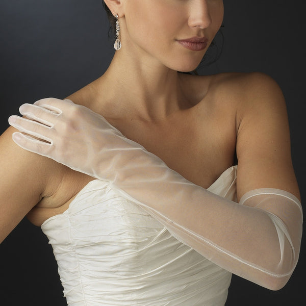 Sheer Above-Elbow Bridal Gloves - MyGowns.com