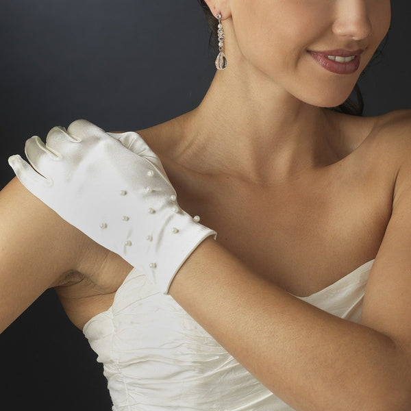 Pearl Embellished Bridal Gloves - MyGowns.com