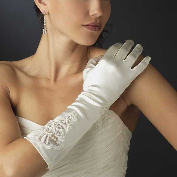 Full Fingered Embroidered Bridal Gloves - MyGowns.com