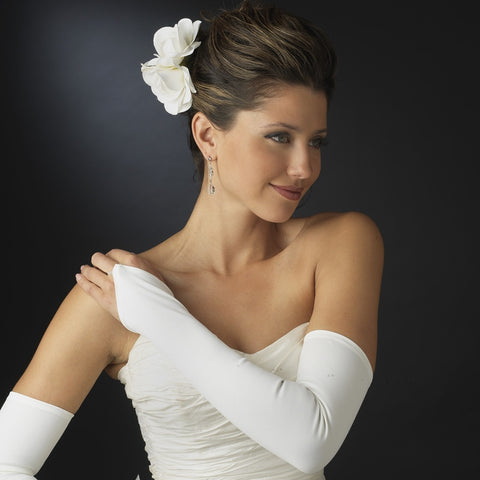 Fingerless Matte Satin Shoulder-Length Bridal Gloves - MyGowns.com