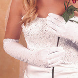 Pearl Accented Bridal Gloves - MyGowns.com