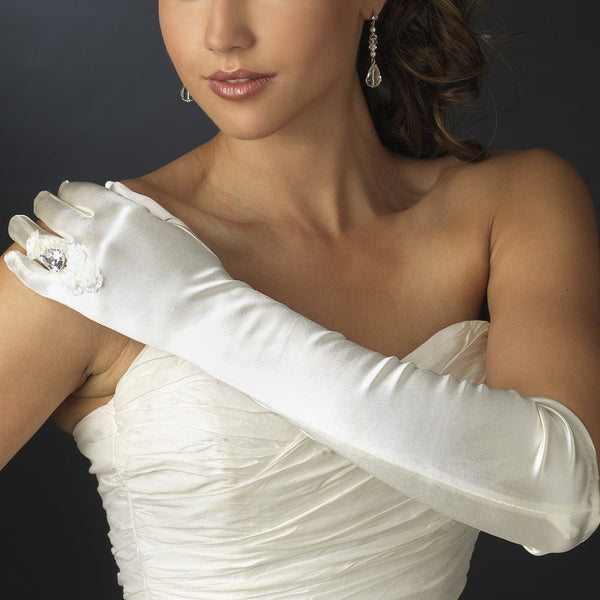 Matte Ring Fingerless Above-Elbow Bridal Gloves - MyGowns.com
