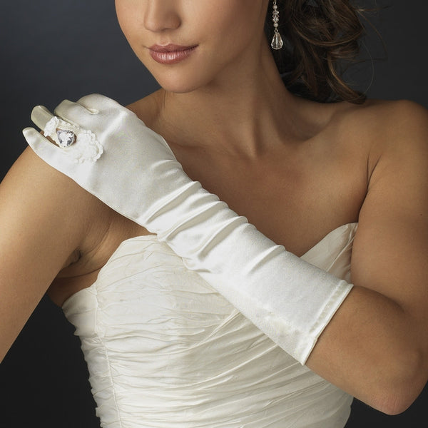 Ring Fingerless Elbow-Length Bridal Gloves - MyGowns.com