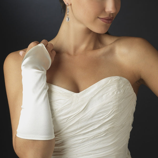 Satin Fingerless Elbow Length Bridal Gloves - MyGowns.com
