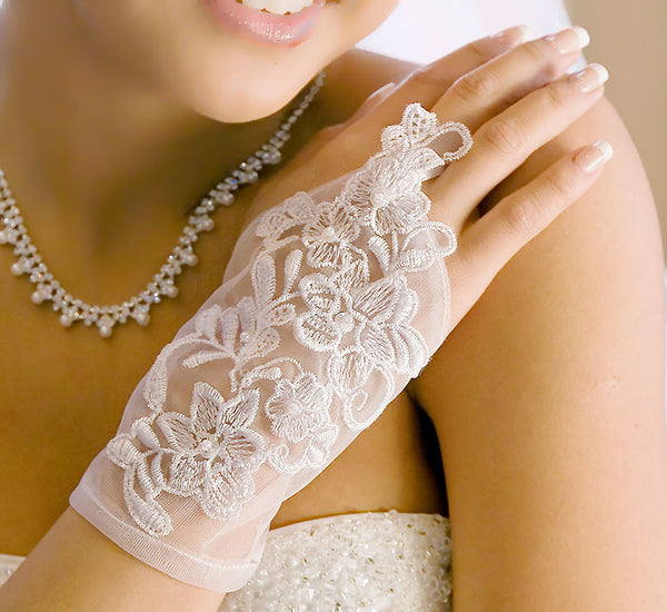 Sheer Embroidered Wrist-Length Fingerless Bridal Gloves - MyGowns.com