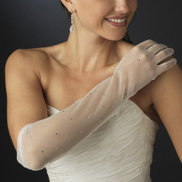 Sheer Rhinestone Bridal Gloves - MyGowns.com