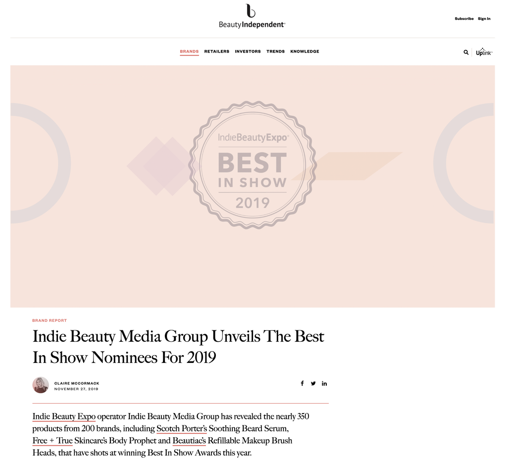 Free + True featured in Beauty Independent - Indie Beauty Media Group Unveils The Best In Show Nominees For 2019