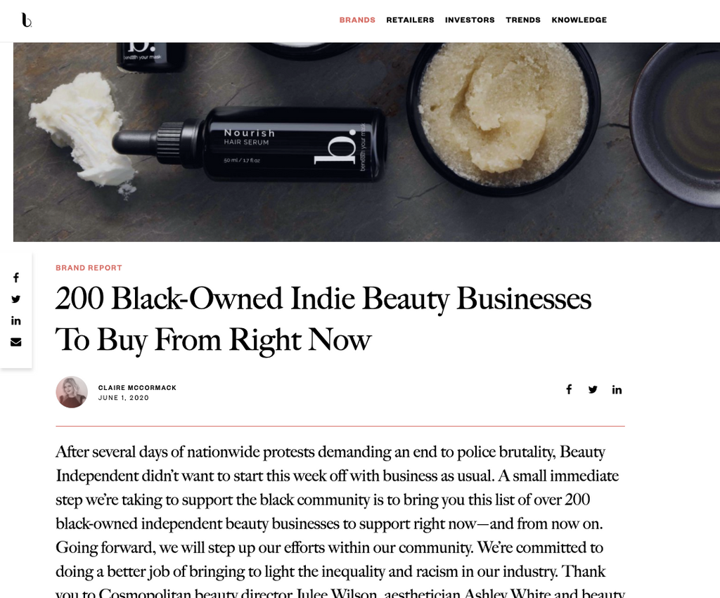 Free + True in Beauty Independent - Black-Owned Indie Beauty Brands