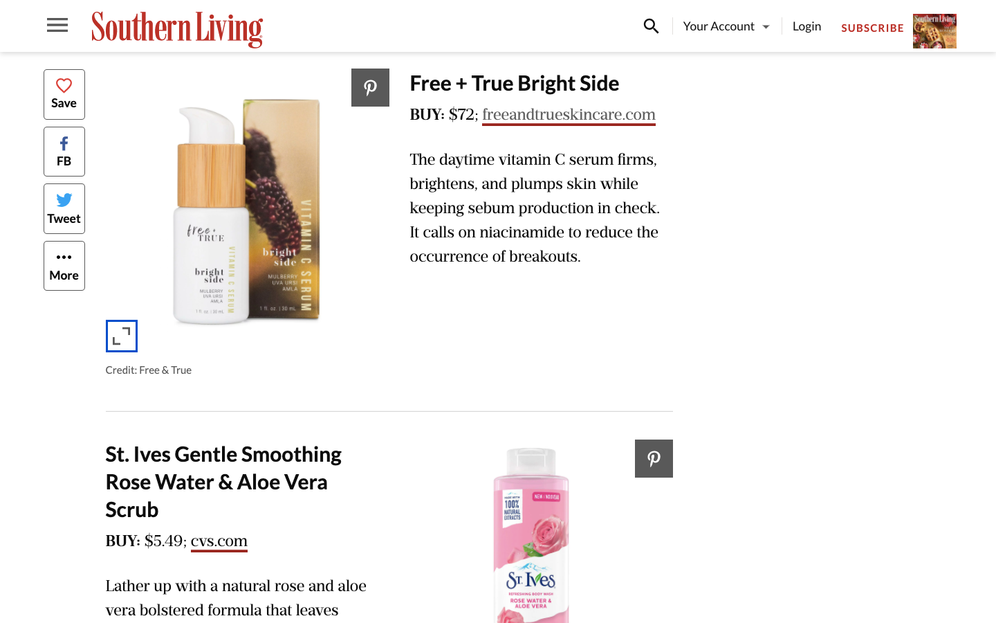 Free + True Skincare featured in Southern Living