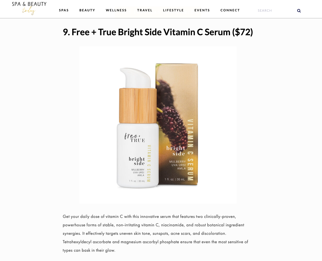 Free + True in Spa and Beauty Today