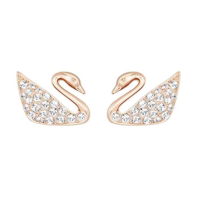 swan-mini-pierced-earrings-white-rose-gold-plating