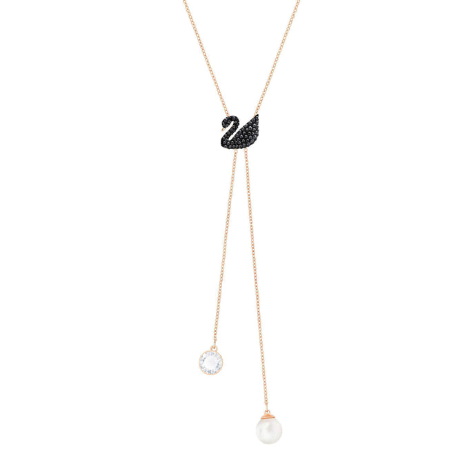 iconic-swan-double-y-necklace-black-rose-gold-plating