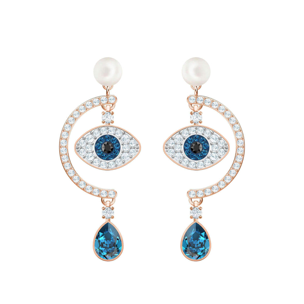 duo-evil-eye-pierced-earrings-multi-colored-rose-gold-plating