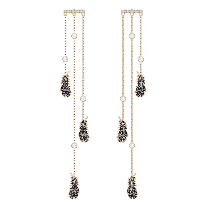 naughty-chandelier-pierced-earrings-black-rose-gold-tone-plated