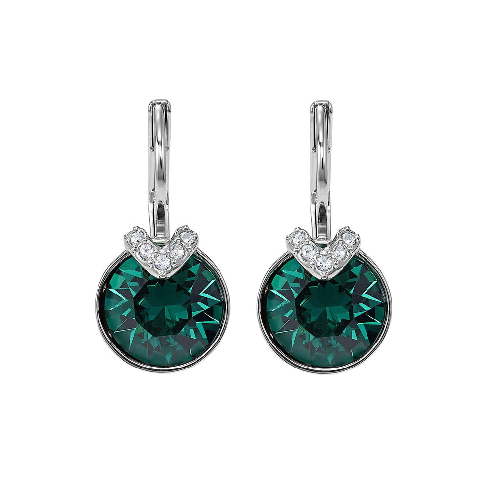 bella-v-pierced-earrings-green-rhodium-plated
