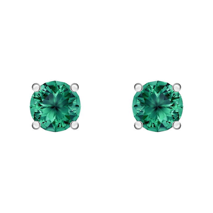attract-stud-pierced-earrings-green-rhodium-plated