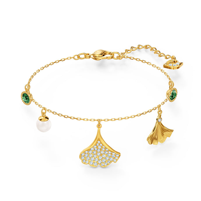 stunning-ginko-bracelet-green-gold-tone-plated