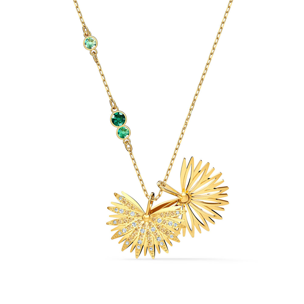 swarovski-symbolic-palm-necklace-green-gold-tone-plated