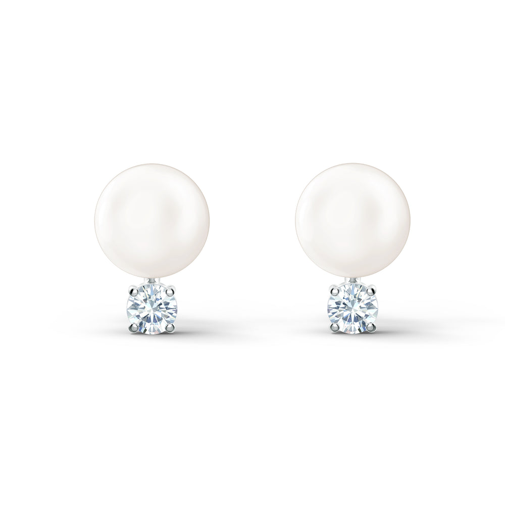 Treasure Pearl Pierced Earrings, White, Rhodium plated
