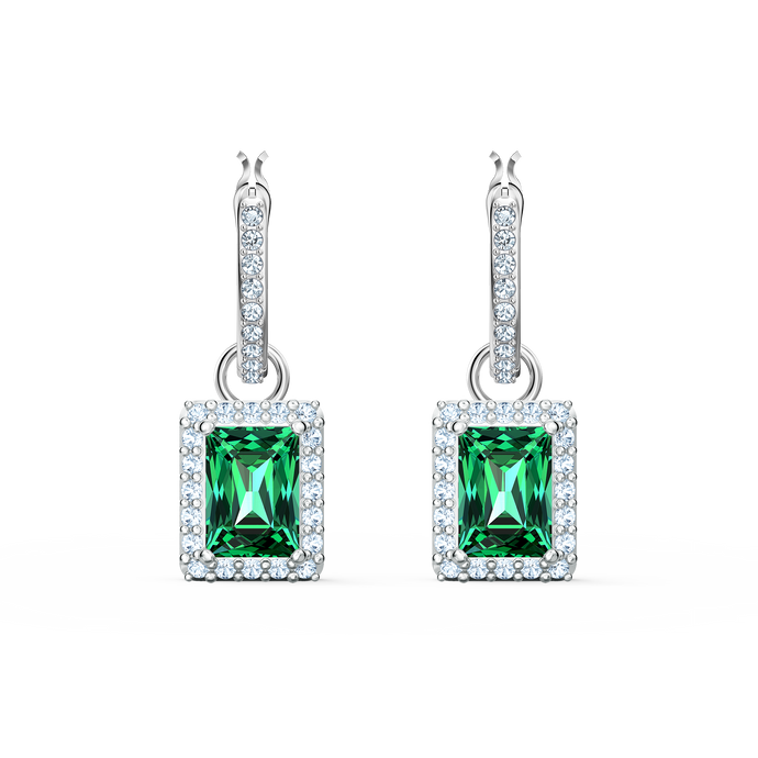 Angelic Rectangular Pierced Earrings, Green, Rhodium plated