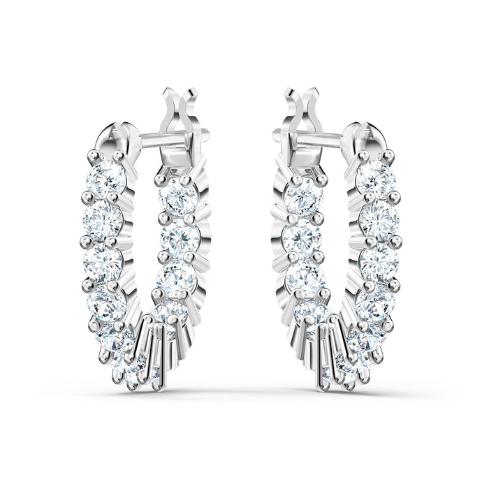 Vittore Mini Hoop Pierced Earrings, White, Rhodium plated
