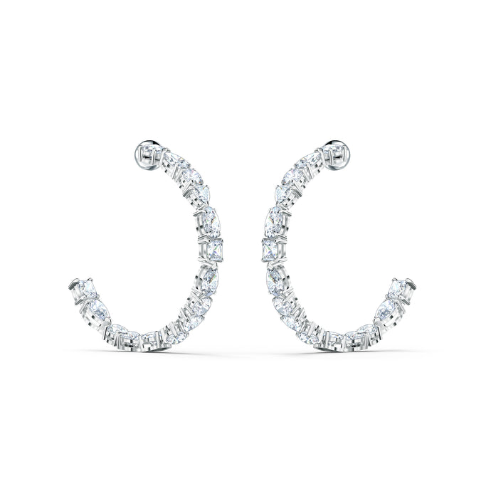 Tennis Deluxe Mixed Hoop Pierced Earrings, White, Rhodium plated