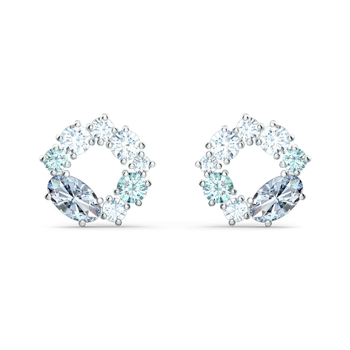 Attract Circle Stud Pierced Earrings, Rhodium plated