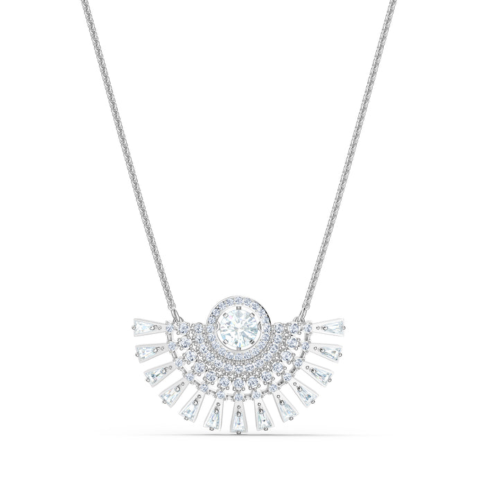Swarovski Sparkling Dance Dial Up Necklace, Short, White, Rhodium plated