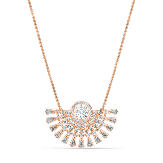Swarovski Sparkling Dance Dial Up Necklace, Short, Grey, Rose-gold tone plated