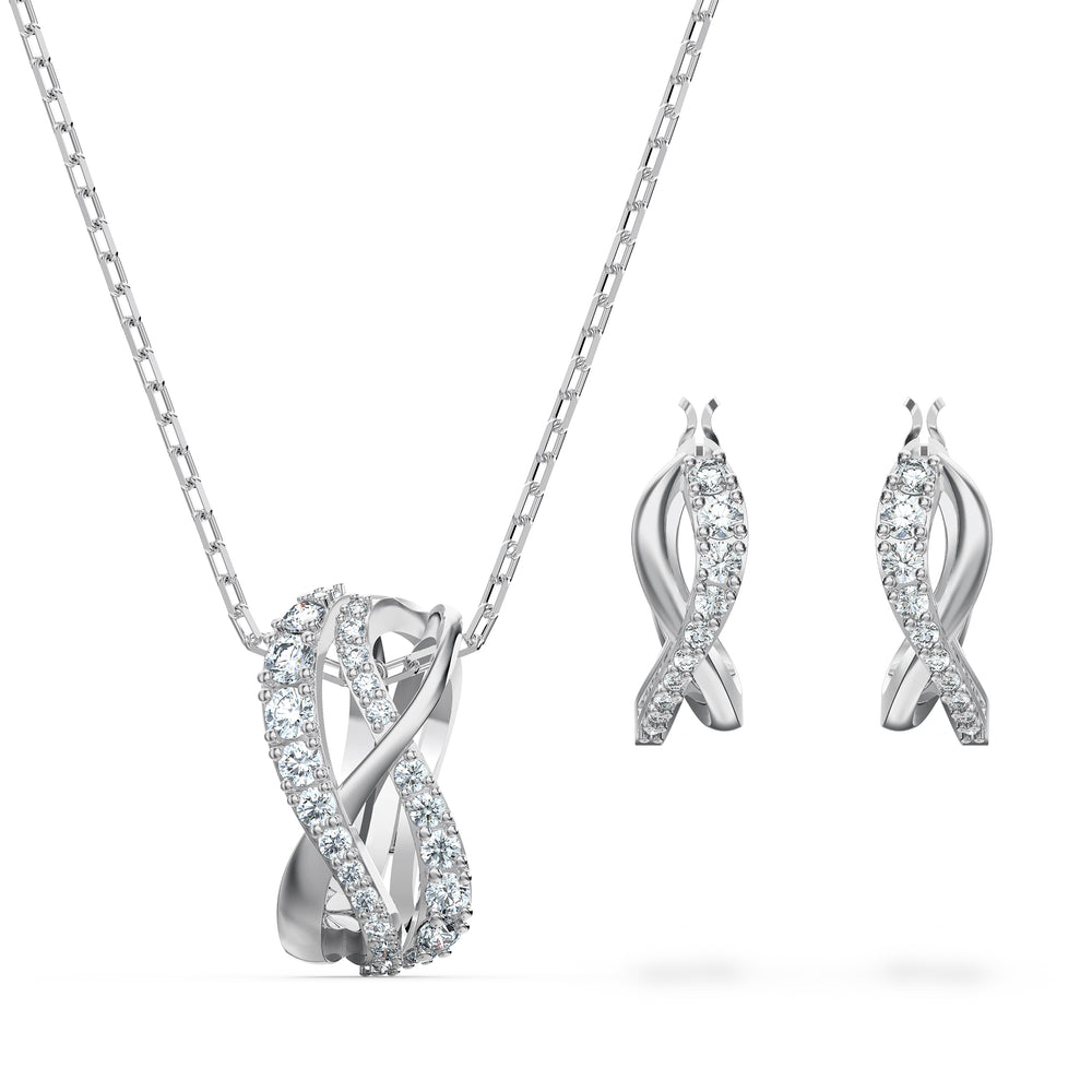 Twist Set, White, Rhodium plated