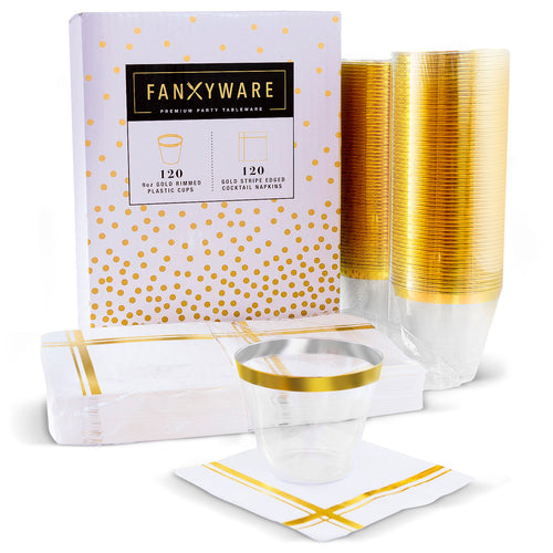 Gold Rim Plastic Clear Cups & Gold Stripe Cocktail Napkins, 120 Each per Set
