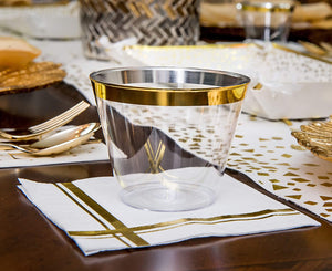 Gold Rim Plastic Clear Cups & Gold Stripe Cocktail Napkins, 25 Each per Set
