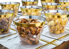 Load image into Gallery viewer, Gold Rim Plastic Clear Cups & Gold Stripe Cocktail Napkins, 25 Each per Set