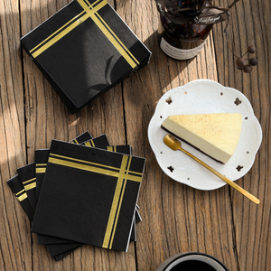 Foil Gold Stripe Black Cocktail Napkins, 100 Pack