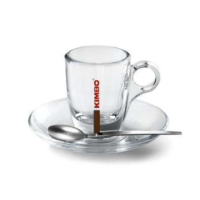 KIMBO GLASS ESPRESSO CUP AND SAUCER