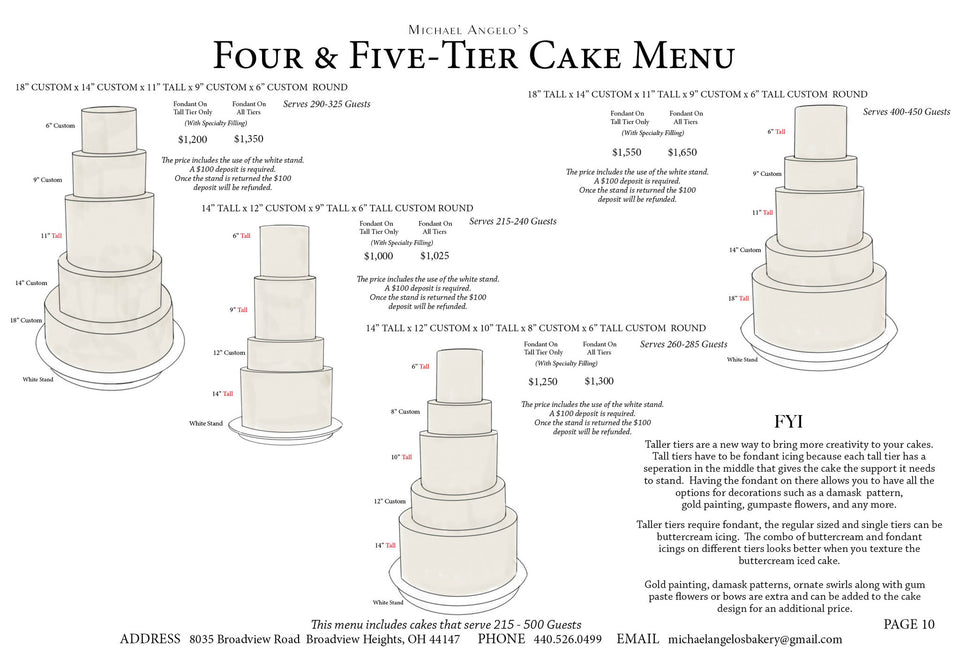 4 and  5-Tier Cake Menu
