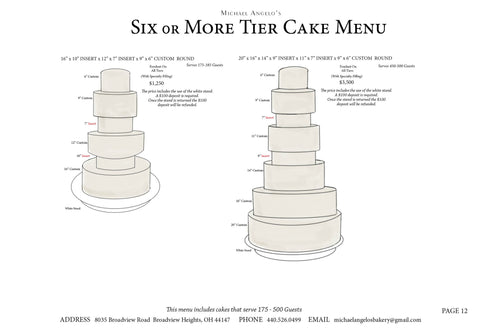6 or More Tier Cake Menu