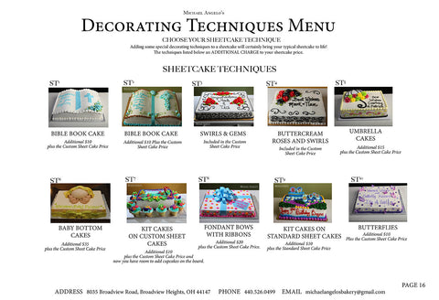 Sheet Cake Decorating Techniques Menu