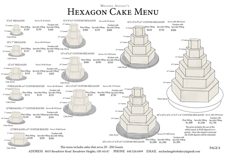 Hexagon Cake Menu